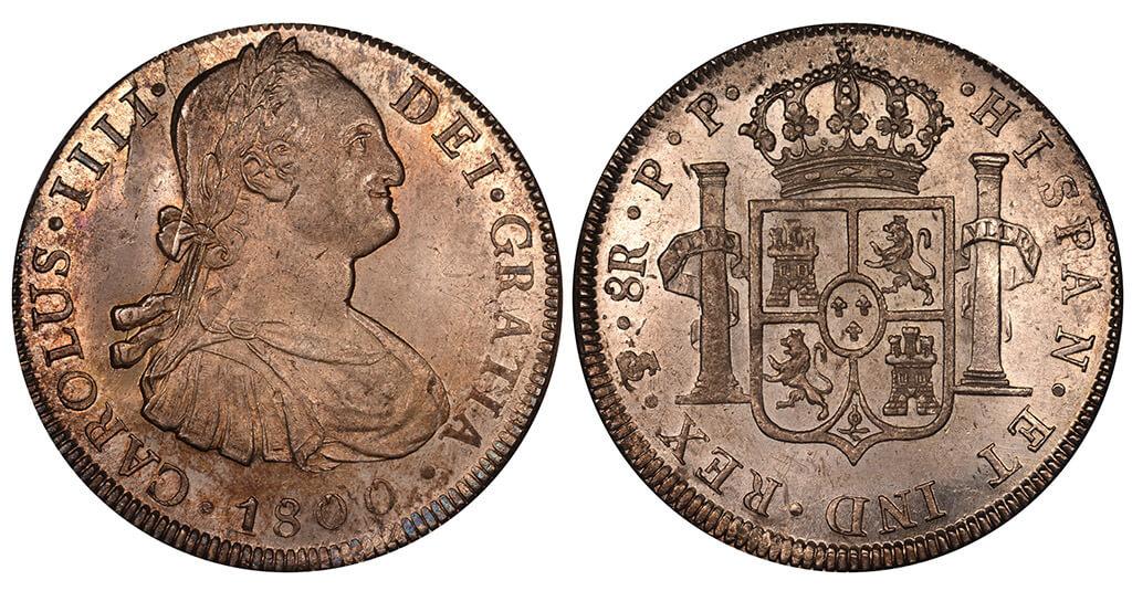 Moeda de 8 reales 1808 potosi bolívia