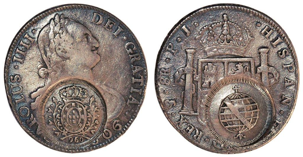 Moeda de 8 reales de 1806 transformado em 960 réis pelo carimbo de minas