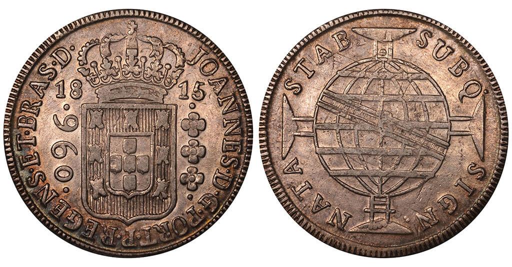 Moeda de 960 réis de 1815 do 1º tipo cunhado pela Casa da moeda da Bahia