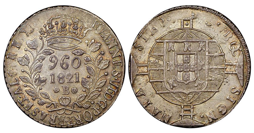 Moeda de 960 réis de 1821 do 2º tipo cunhado pela Casa da moeda da Bahia