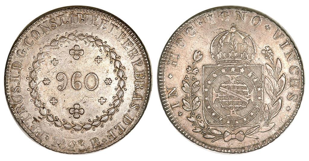 Moeda de 960 réis de 1823 (3º tipo) cunhado pela Casa da Moeda do Rio de Janeiro