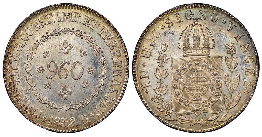 Moeda de 960 réis de 1832 da série de disco próprio ou disco liso cunhado pela Casa da Moeda do Rio de Janeiro