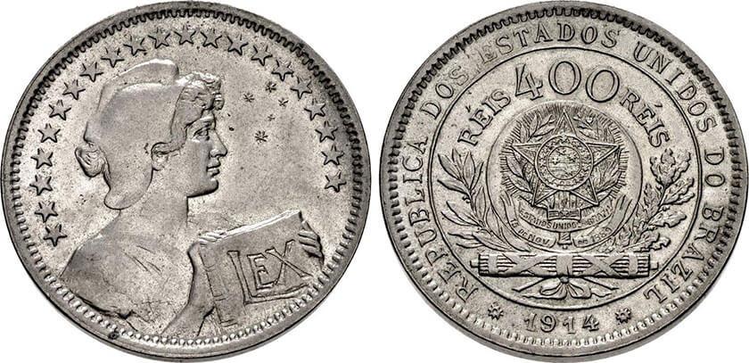 Moeda de 400 réis de 1914 em níquel
