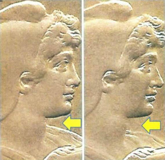 À esquerda, variante pescoço curto e à direita variante pescoço longo da moeda de níquel de 400 réis de 1914