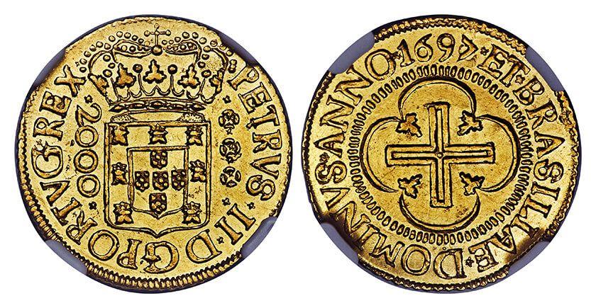 Resultado de imagem para primeiras moedas 1695 brasil ouro 2000 reis