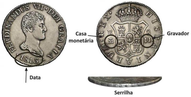 Exemplo de moeda de 8 reales metropolitano: 8 reales de 1813 de Madri, Ferdinandus VII