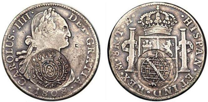 Carimbo de Minas (960 réis), aplicado sobre 8 reales 1808 México TH