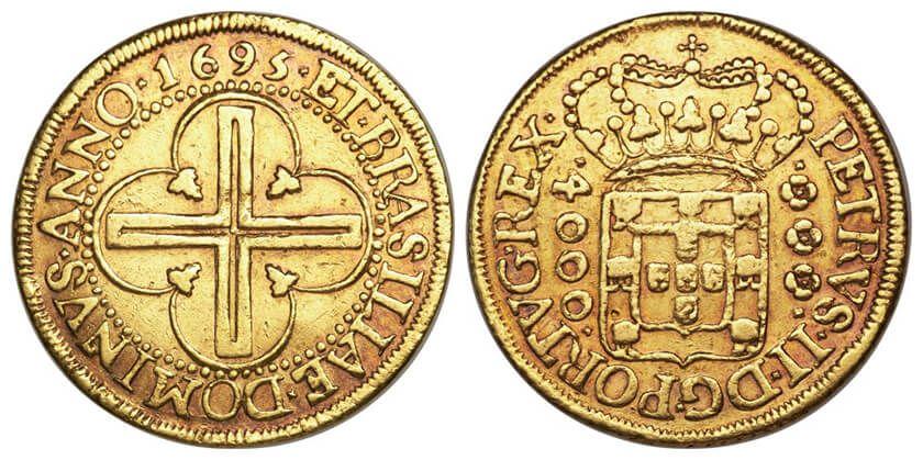 Moeda de 4000 réis de 1695: inspiração para a medalha de 4.000 réis da Casa da Moeda do Brasil - Imagem cortesia da Heritage Aucion (Aucion number 3024, Lot 23161)