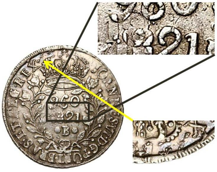 Re-RECUNHO: 960 réis 1821 Bahia, cunhado sobre 960 réis de 1820 Bahia que por sua vez está recunhado sobre um 8 Reales de 1795 de lima.