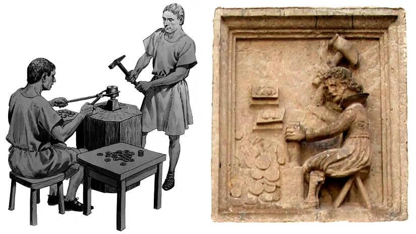 Ilustração mostrando cunhagem manual de moedas (esquerda) e detalhe de relevo de uma parede da cidade de Rostock na Alemanha representando um homem executando cunhagem manual de moedas (direita)