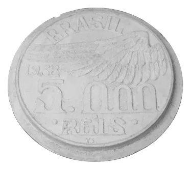 Molde de Gesso original da moeda 5.000 Réis 1938, em exposição na sede da Sociedade Numismática Brasileira. Cortesia da imagem: Numismata Luan Catellan