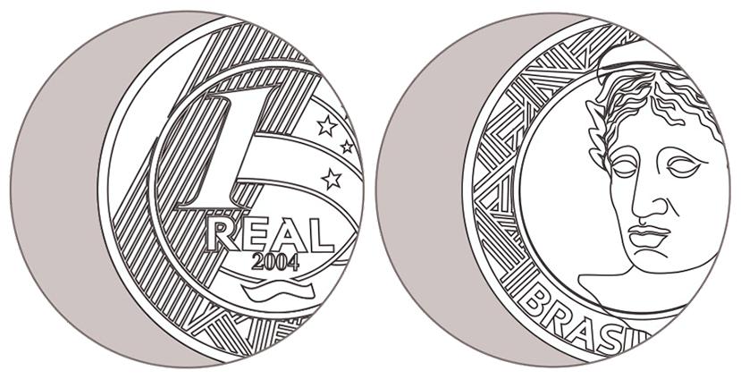 """Ilustração de uma moeda de 1 Real de 2004 com erro de cunho descentralizado ou """"boné"""""""
