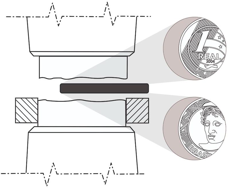 Ilustração de cunhagem de uma moeda com cunho descentralizado ou boné