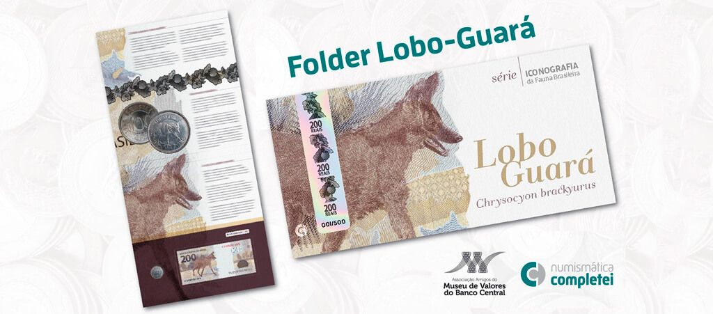 Folder do lobo-guará para cédula / nota de 200 reais
