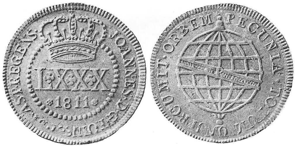 Moeda de cobre LXXX Réis de 1811-P (80 réis)